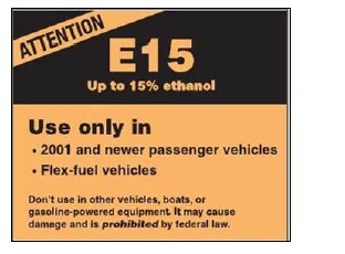 E15 pump label
